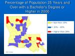 percentage of population 25 years and over with a bachelor s degree or higher in 2000