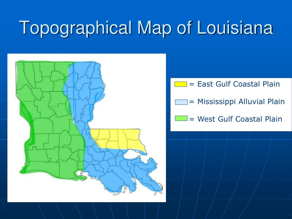 Topographical Map of Louisiana