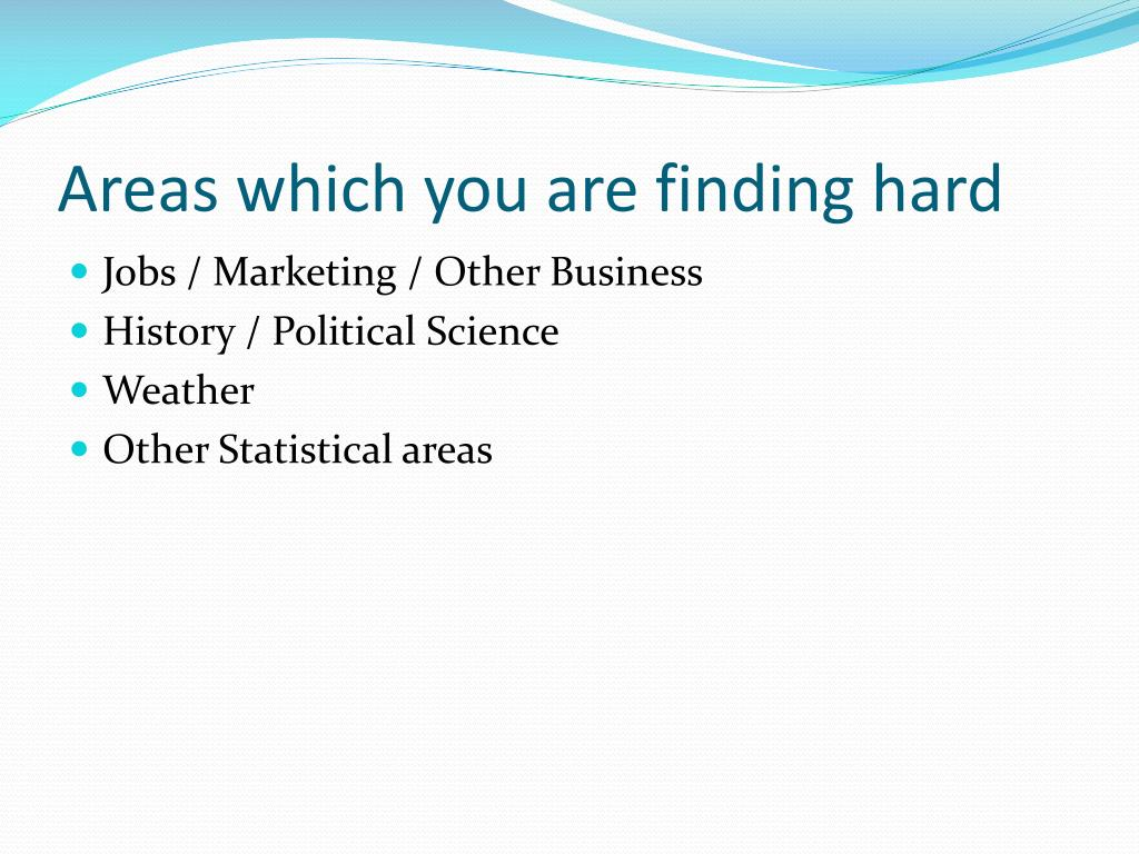 Areas which you are finding hard