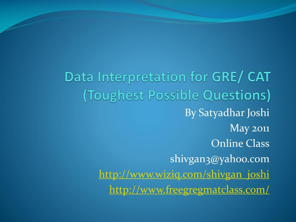 Data Interpretation for GRE/ CAT