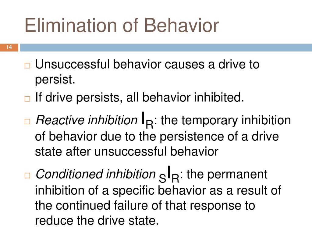 Elimination of Behavior