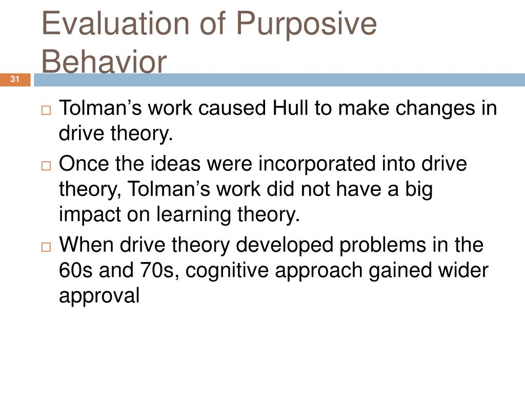 Evaluation of Purposive Behavior