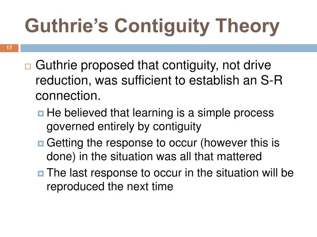 Guthrie's Contiguity Theory