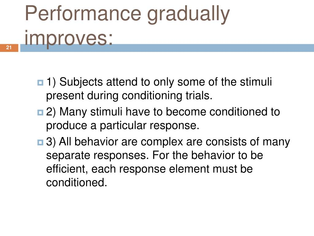 Performance gradually improves: