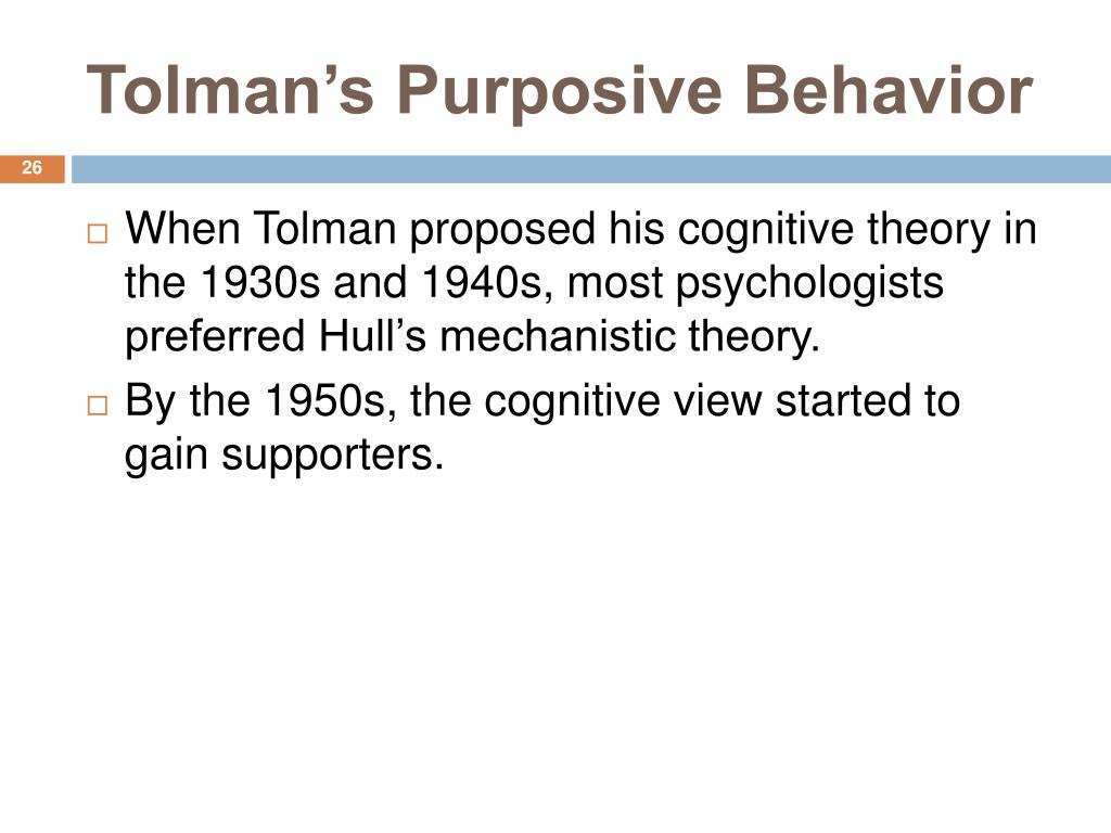 Tolman's Purposive Behavior