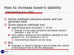 how to increase tower s stability hammerschlag et al 2006