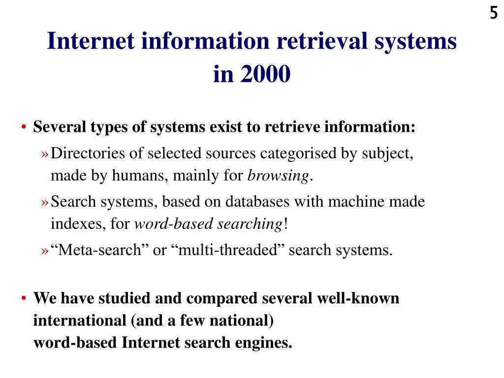 Internet information retrieval systems