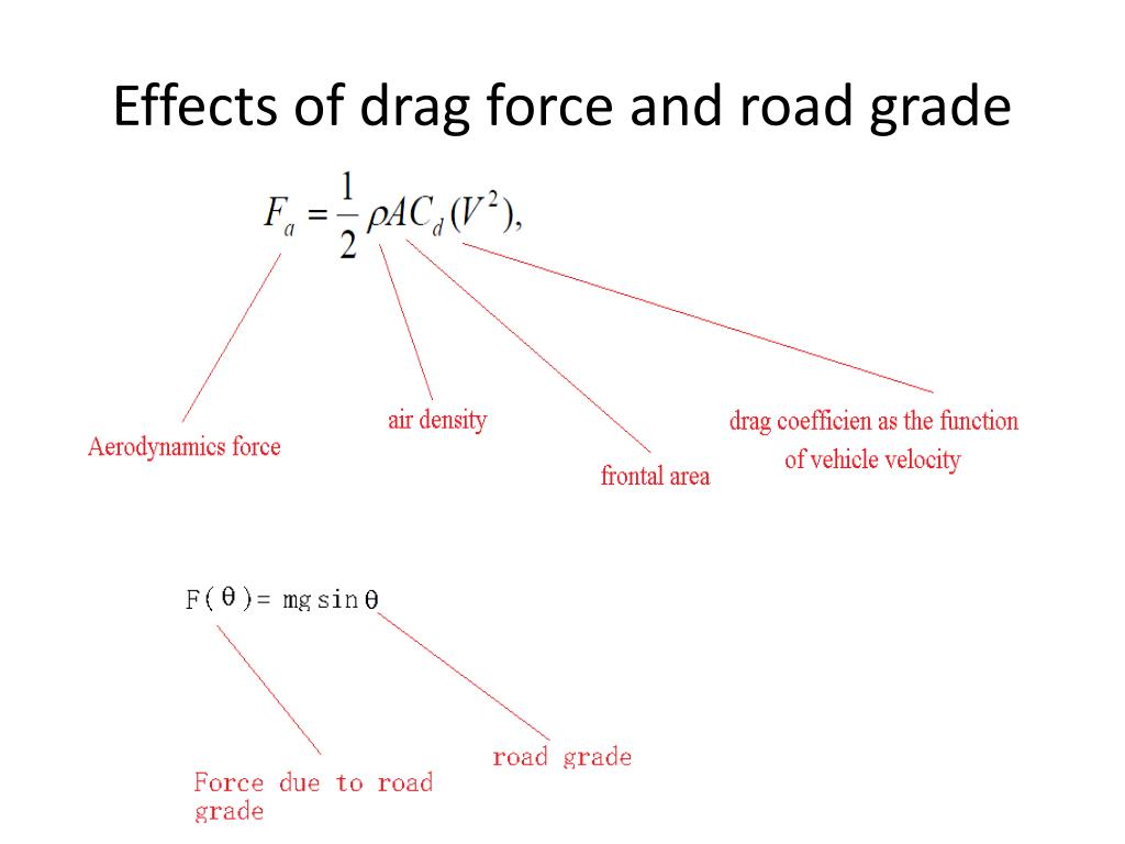 Effects of drag force and road grade
