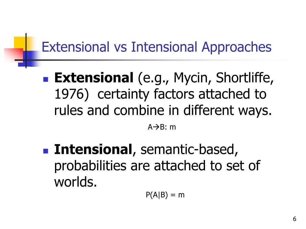 Extensional vs Intensional Approaches