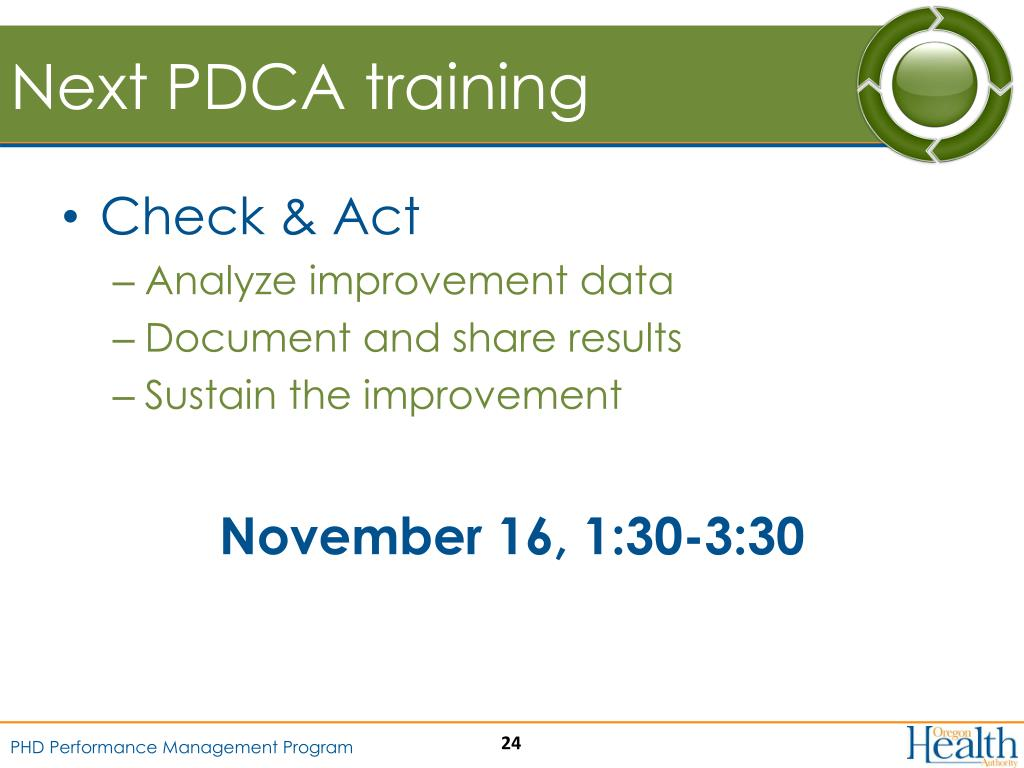 Next PDCA training