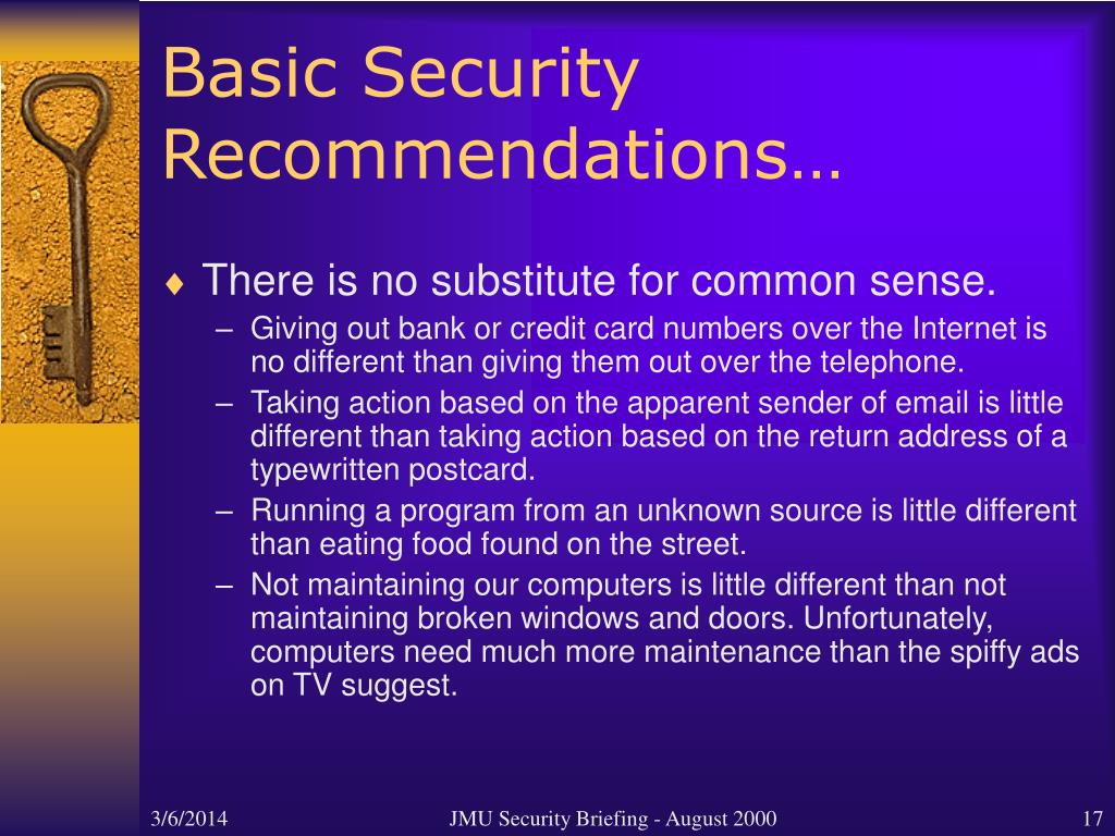 Basic Security Recommendations…