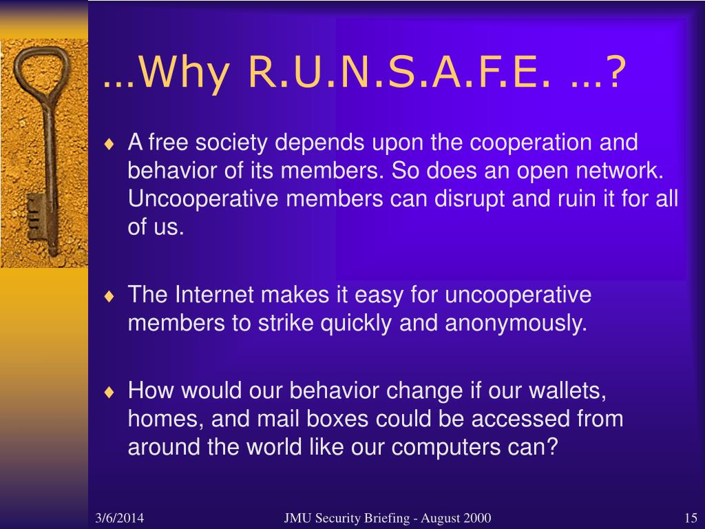…Why R.U.N.S.A.F.E. …?
