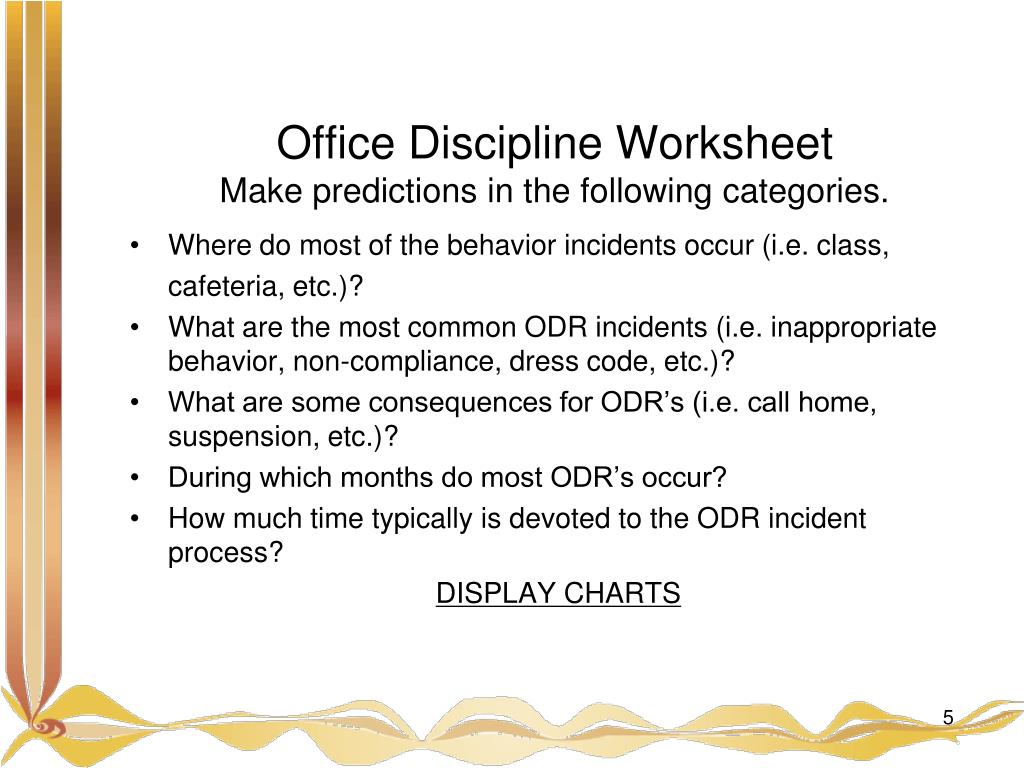 Office Discipline Worksheet