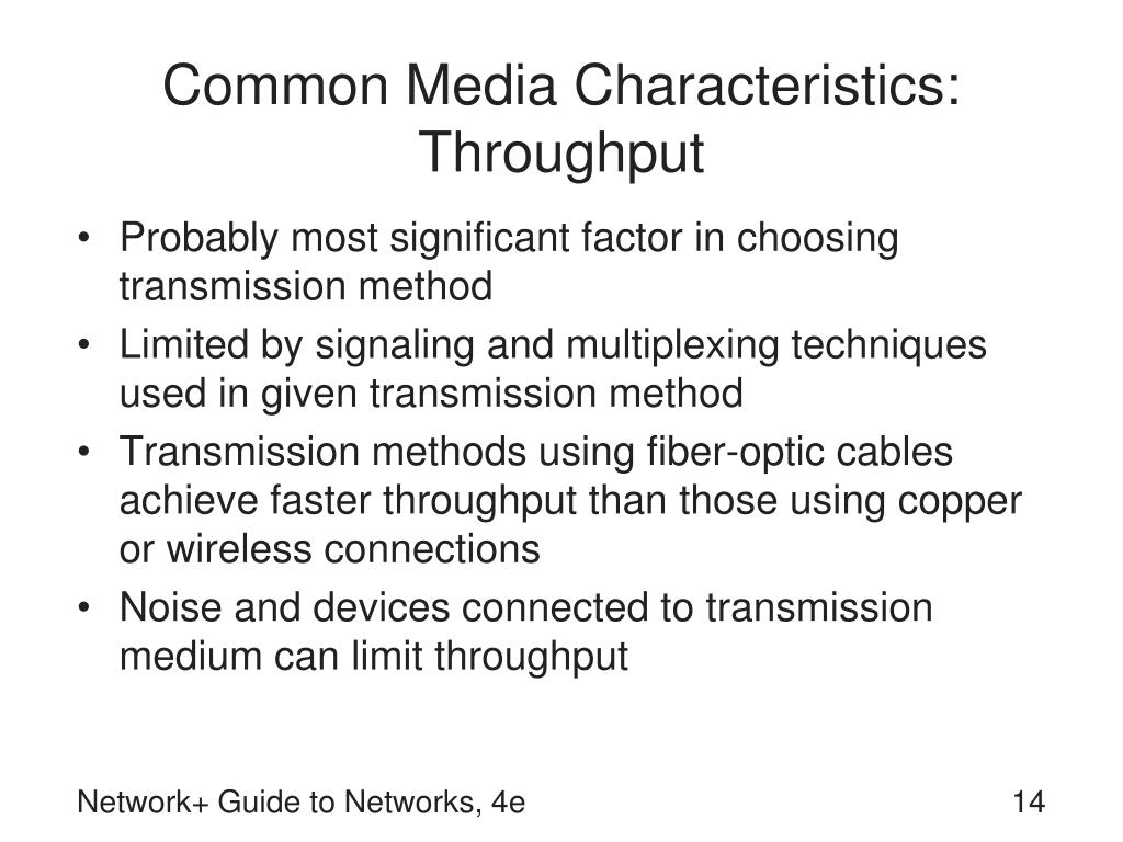 Common Media Characteristics: Throughput