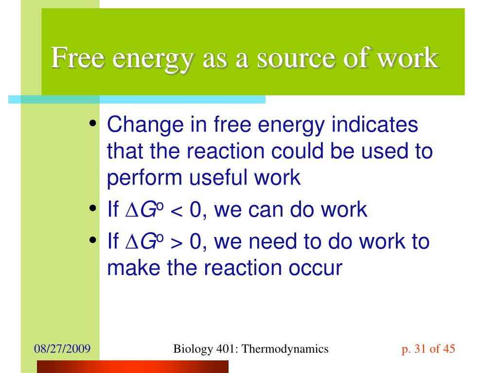 Free energy as a source of work