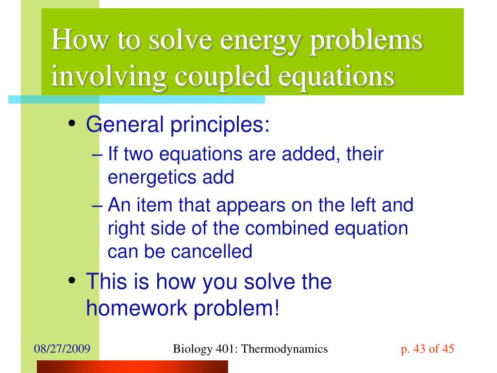 How to solve energy problems involving coupled equations