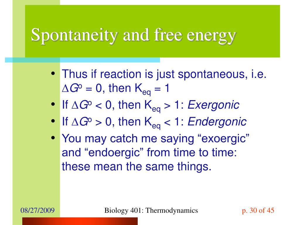 Spontaneity and free energy