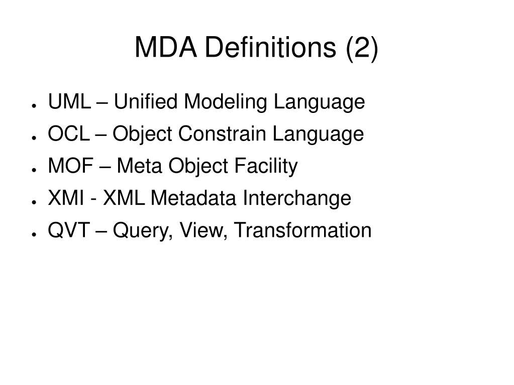 MDA Definitions (2)