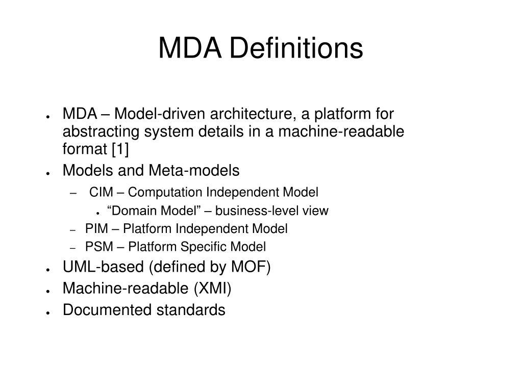 MDA Definitions