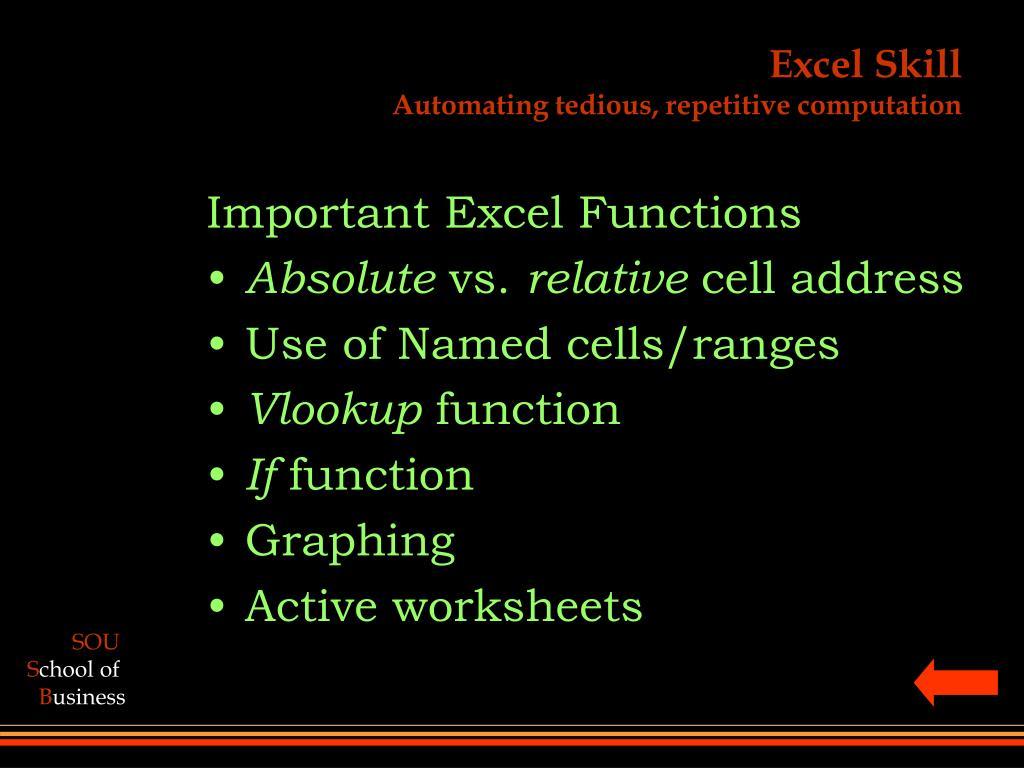 Excel Skill