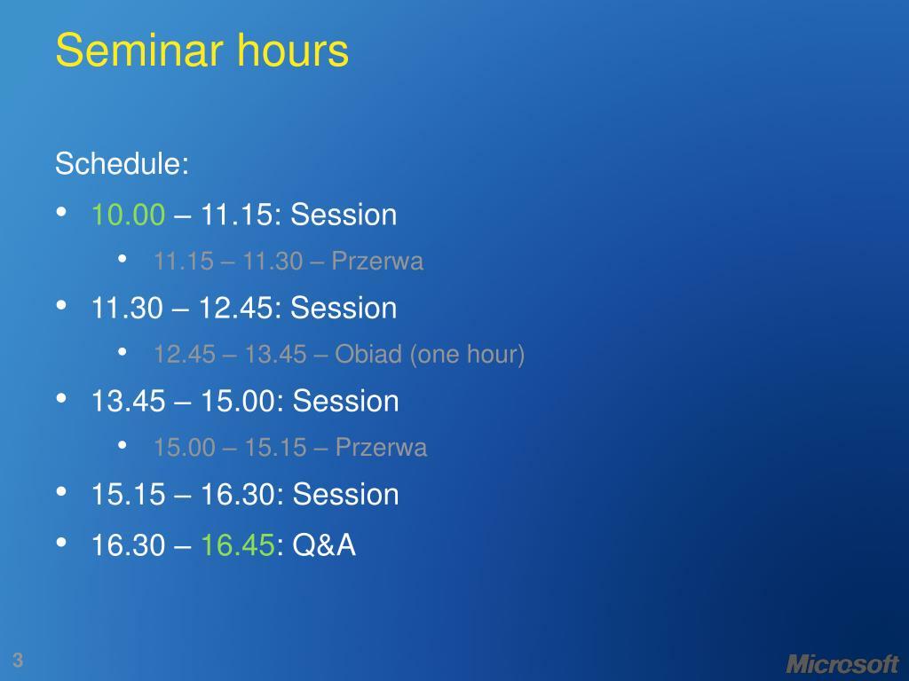 Seminar hours