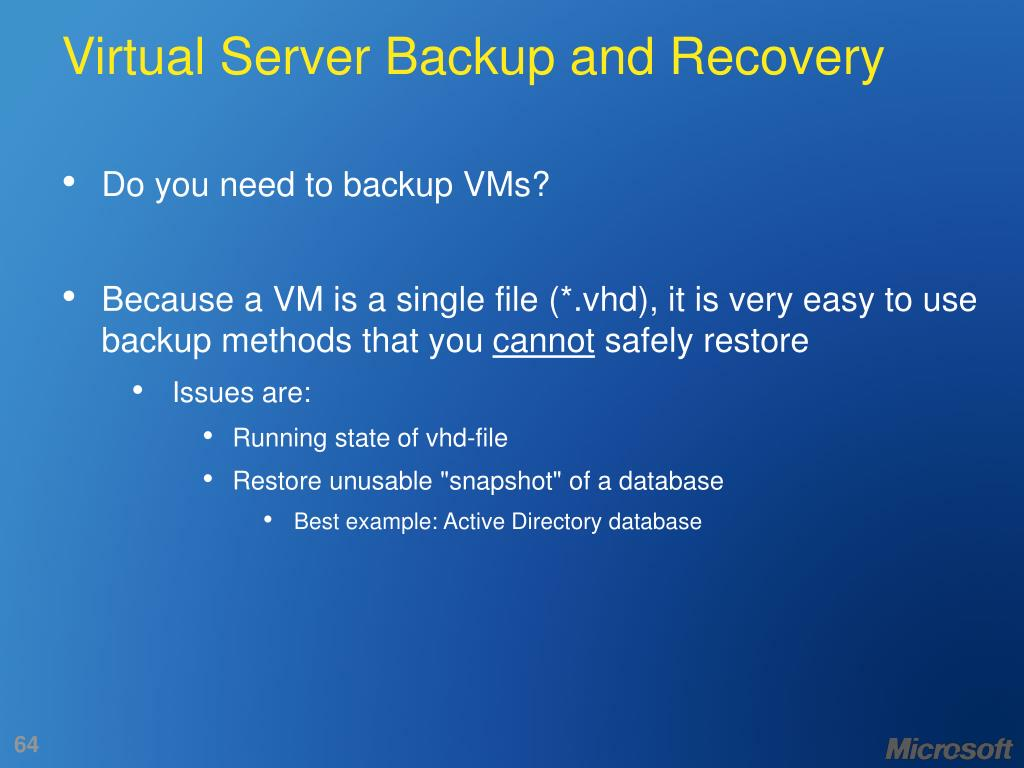 Virtual Server Backup and Recovery