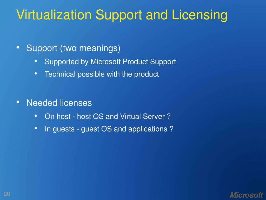 Virtualization Support and Licensing