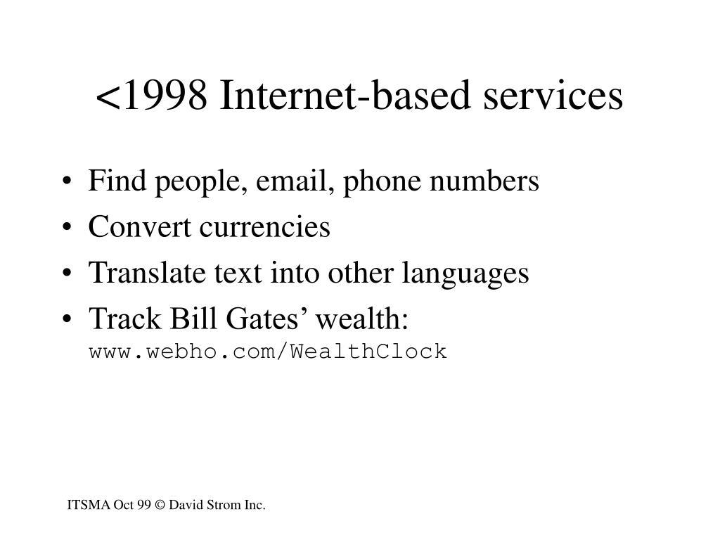 <1998 Internet-based services