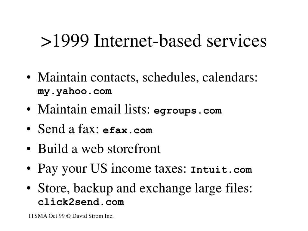 >1999 Internet-based services