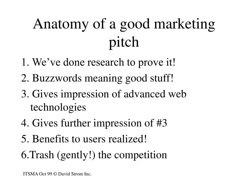 Anatomy of a good marketing pitch