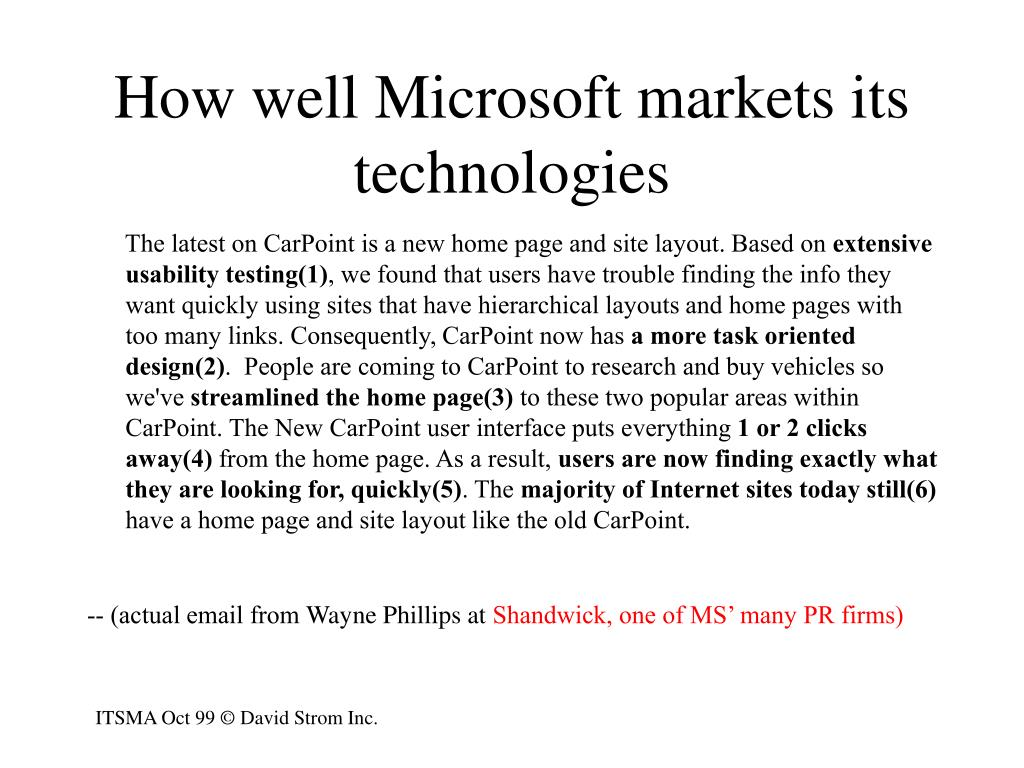 How well Microsoft markets its technologies