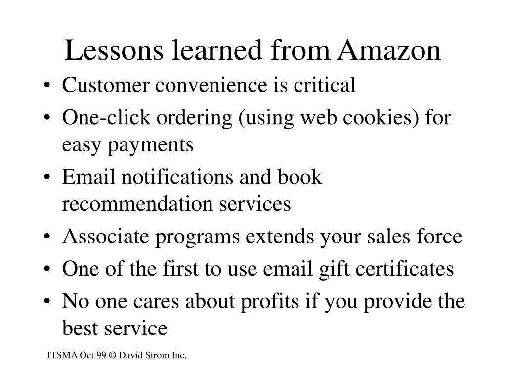 Lessons learned from Amazon