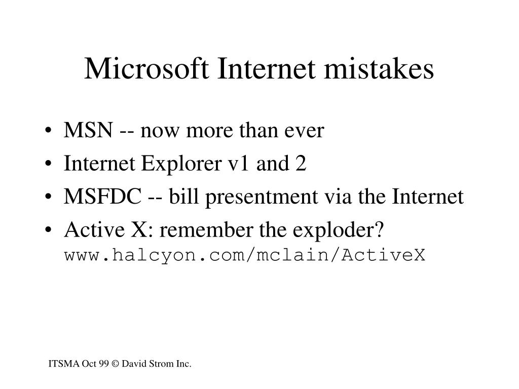 Microsoft Internet mistakes
