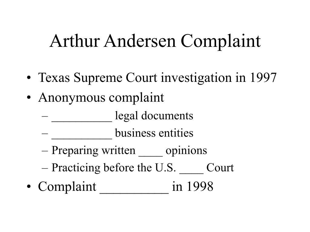Arthur Andersen Complaint