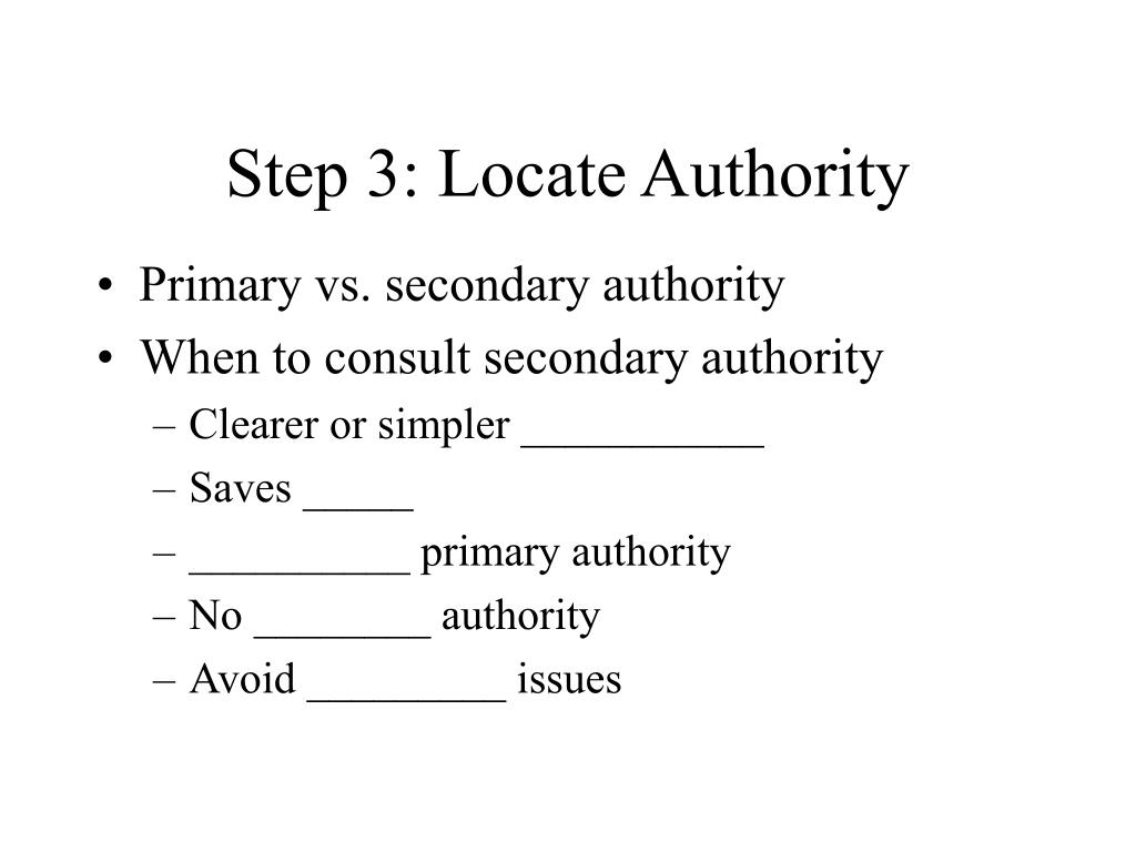 Step 3: Locate Authority