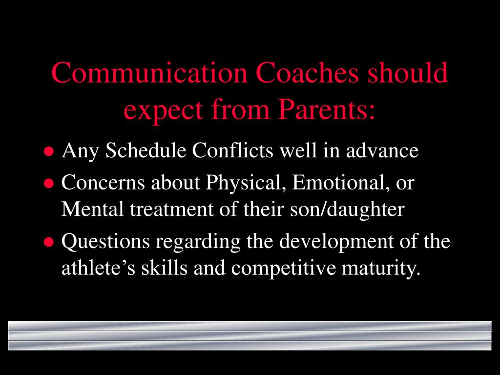 Communication Coaches should expect from Parents: