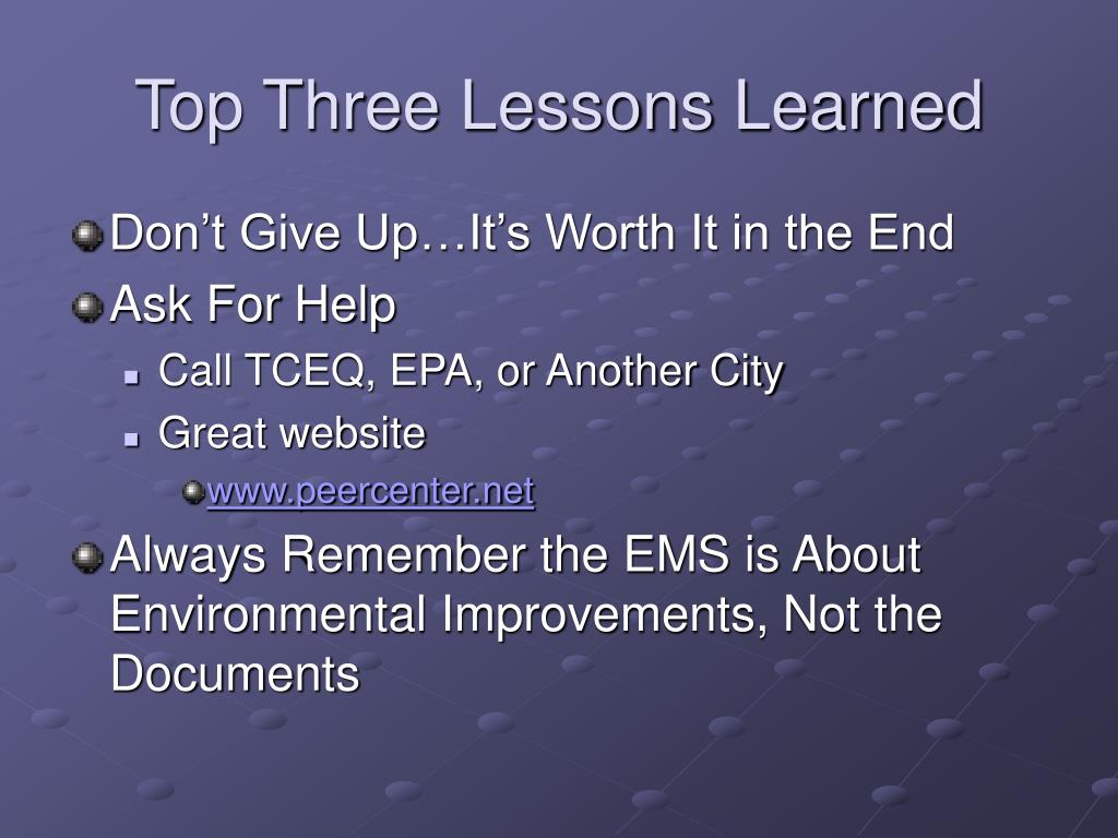 Top Three Lessons Learned