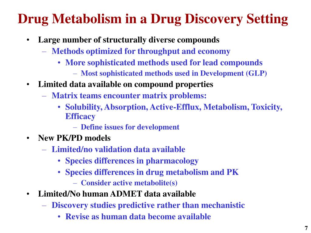 Drug Metabolism in a Drug Discovery Setting