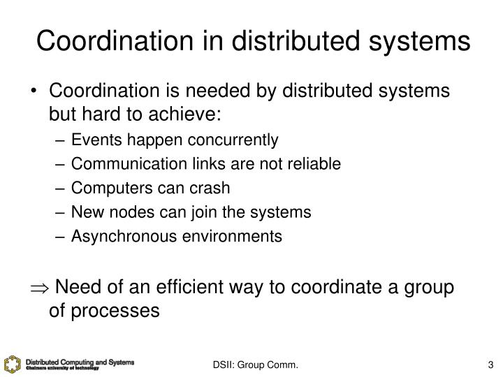 Coordination in distributed systems