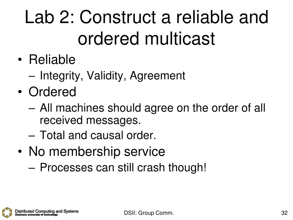 Lab 2: Construct a reliable and ordered multicast
