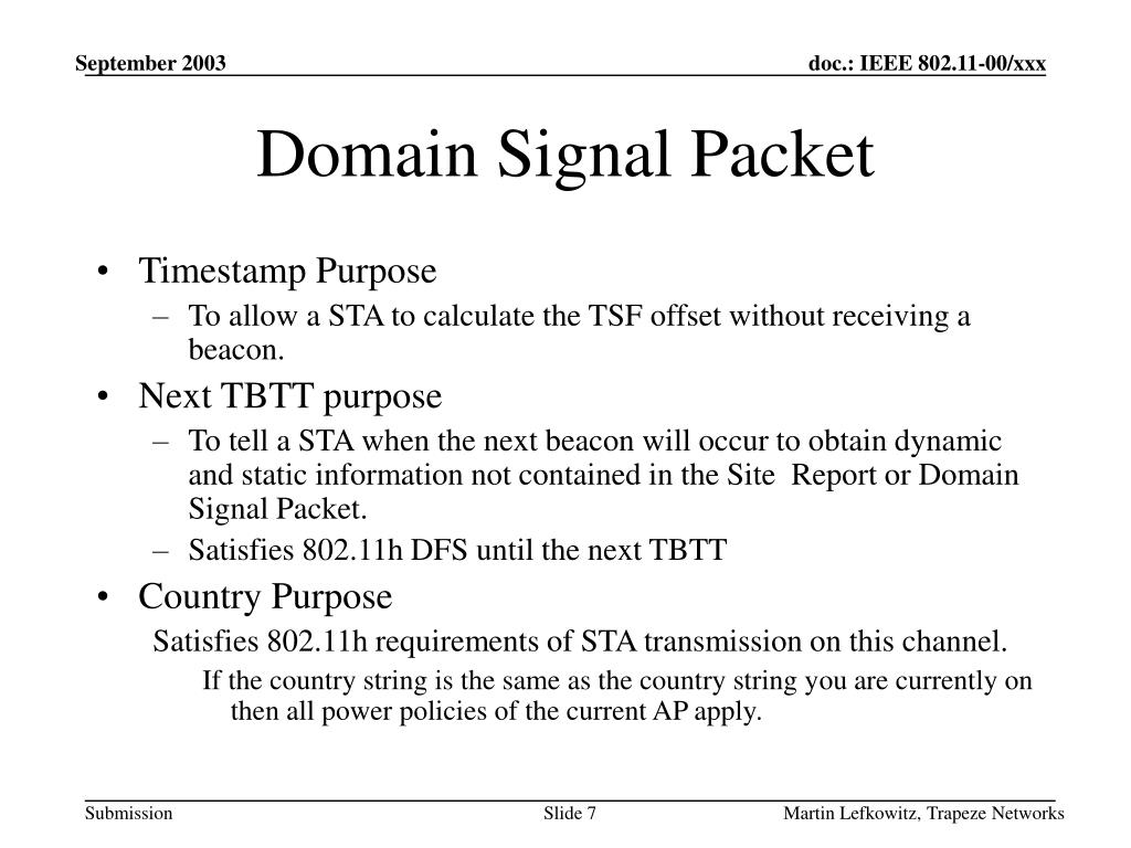 Domain Signal Packet