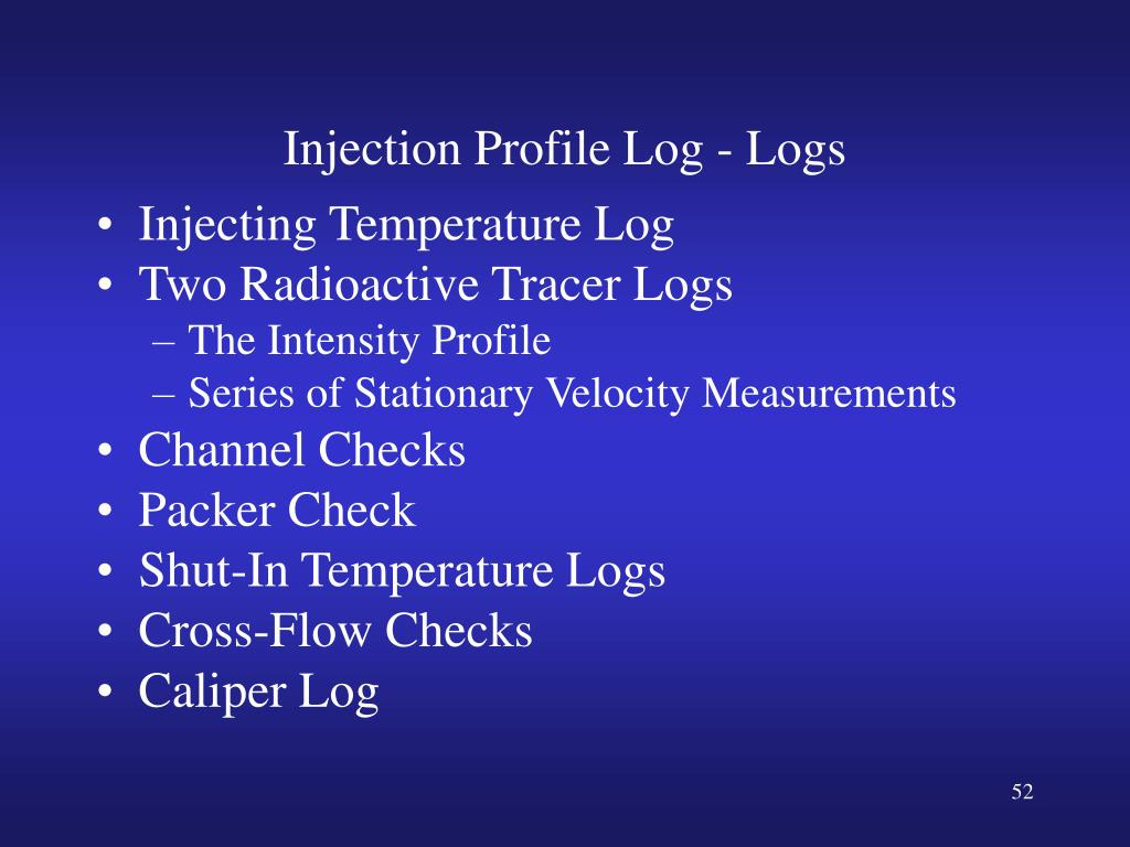 Injection Profile Log - Logs