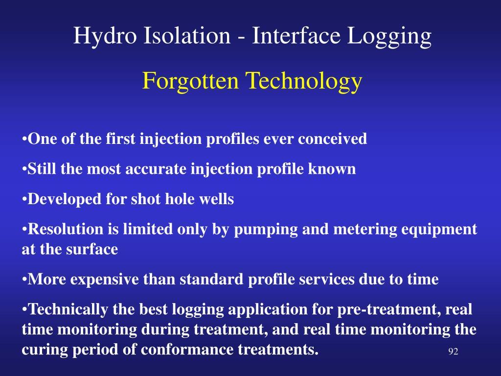 Hydro Isolation - Interface Logging