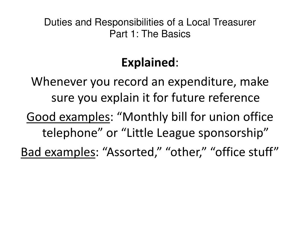 Duties and Responsibilities of a Local Treasurer