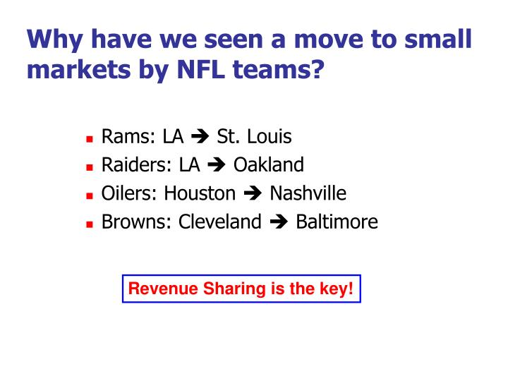 Why have we seen a move to small markets by NFL teams?