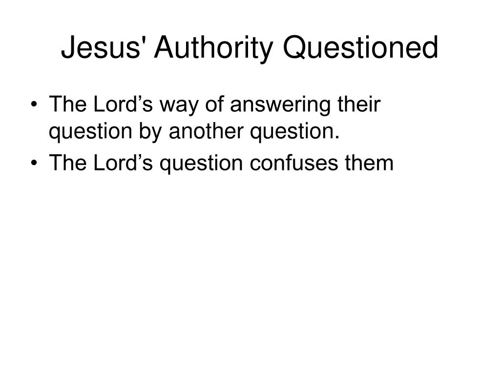 Jesus' Authority Questioned