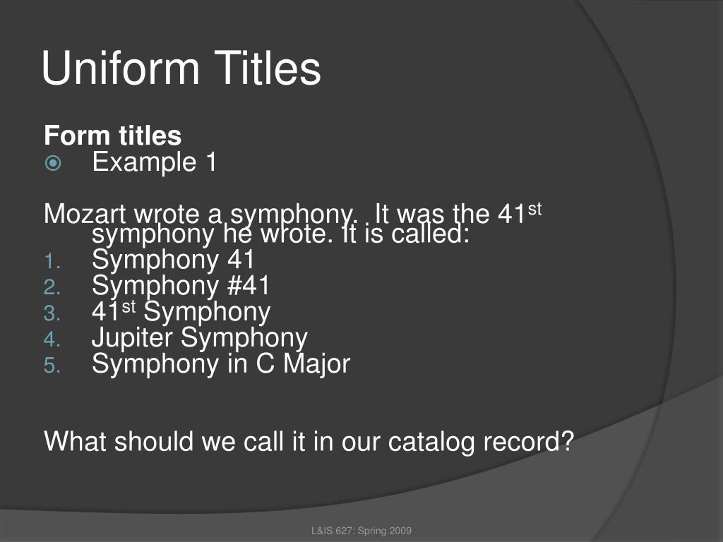 Uniform Titles