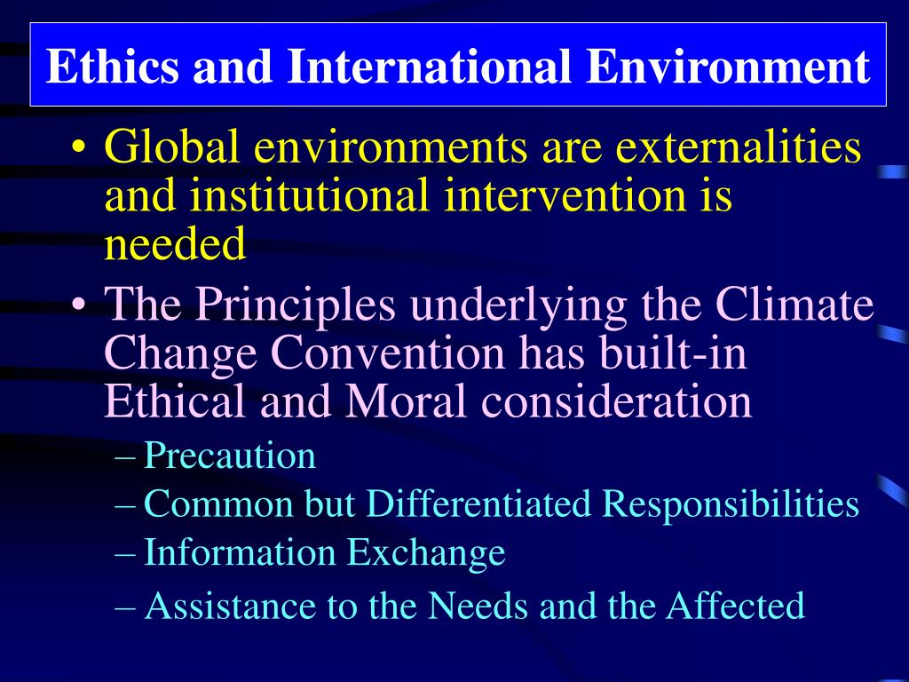 Ethics and International Environment