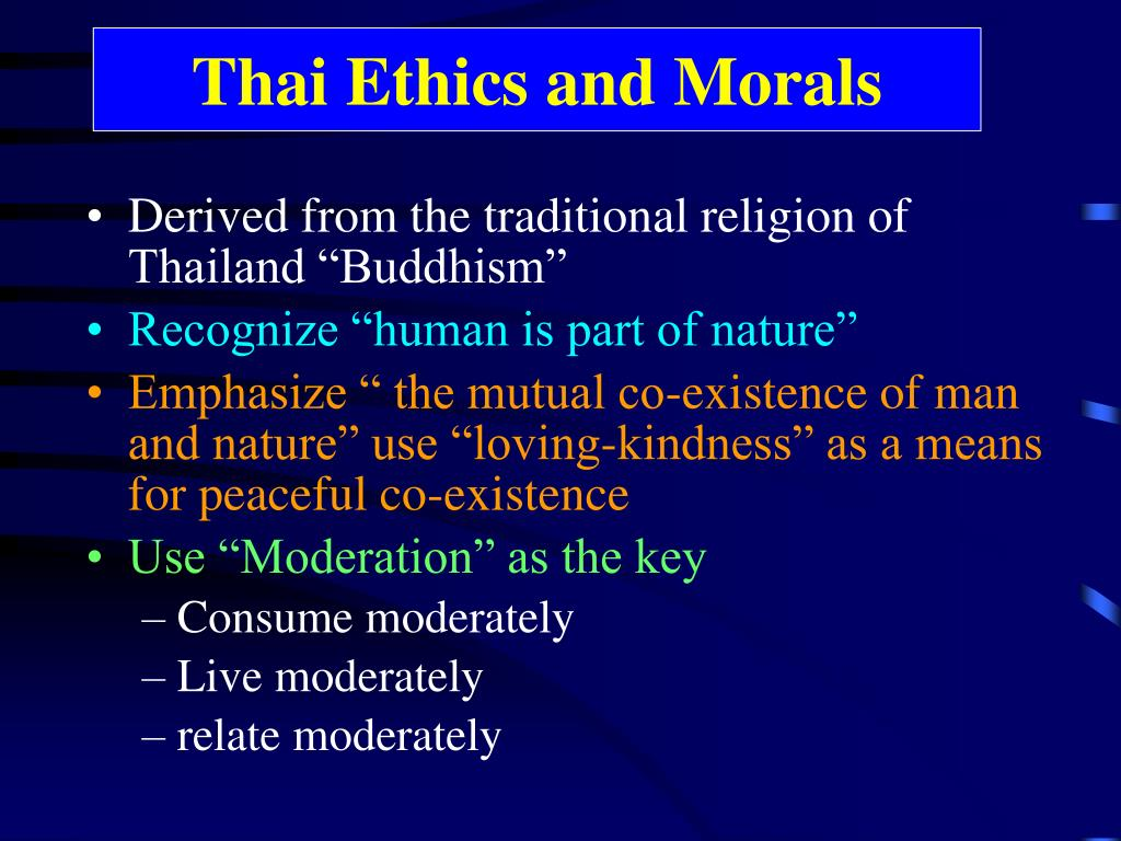 Thai Ethics and Morals