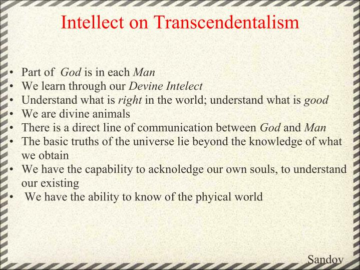 Intellect on Transcendentalism